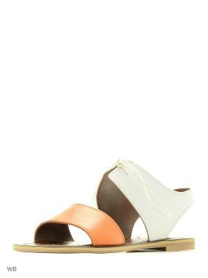 Сандалии GARRO. Цвет: светло-оранжевый, белый