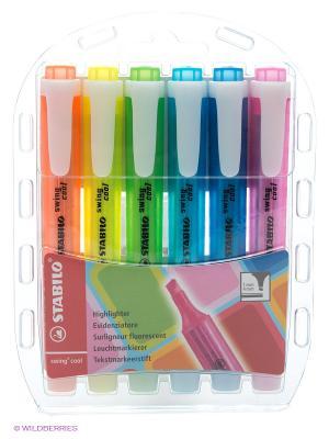 Набор маркеров, 6 шт. Stabilo. Цвет: прозрачный, красный, желтый, зеленый, голубой