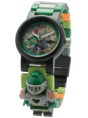 Часы наручные аналоговые LEGO Nexo Knights с минифигурой Aaron на ремешке. Цвет: зеленый, серебристый, оранжевый
