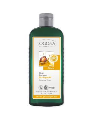 Шампунь для восстановления блеска волос с Био-Аргановым маслом Logona. Цвет: светло-желтый