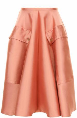 Пышная юбка-миди с накладными карманами Rochas. Цвет: розовый
