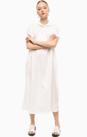 Длинное белое платье THINK CHIC. Цвет: белый