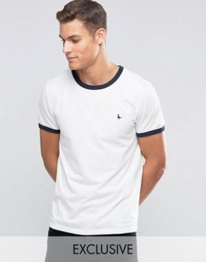 Jack Wills Белая футболка классического кроя Ringer. Цвет: белый