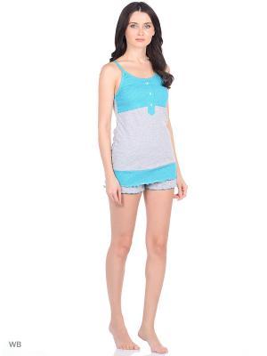 Топ и шорты Elena. Цвет: серый, зеленый