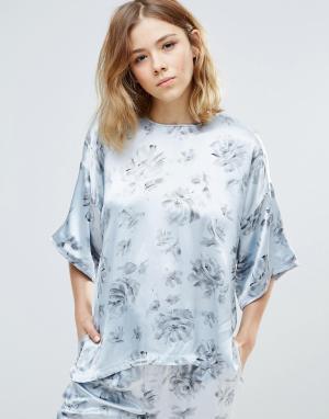Ganni Атласная рубашка с цветочным принтом Gold St.. Цвет: белый