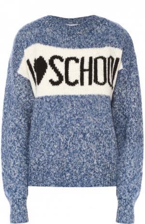 Пуловер свободного кроя с контрастной надписью Wildfox. Цвет: голубой
