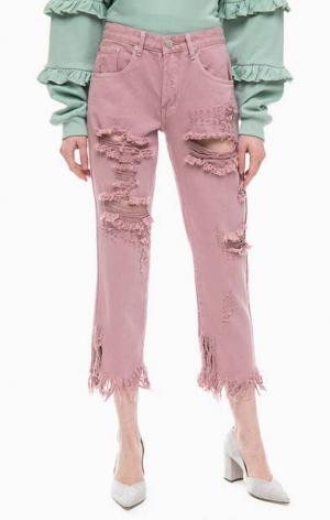 Рваные розовые капри из денима Glamorous. Цвет: розовый