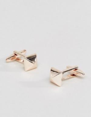 DesignB London Квадратные запонки цвета розового золота эксклюзивно для ASOS. Цвет: золотой