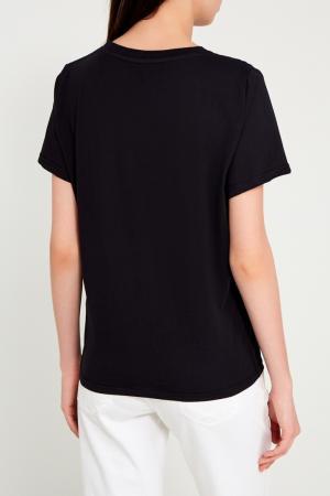 Черная хлопковая футболка с принтом Sorry, i'm Not. Цвет: none