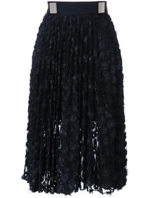 Плиссированная юбка с люверсами Carven. Цвет: чёрный