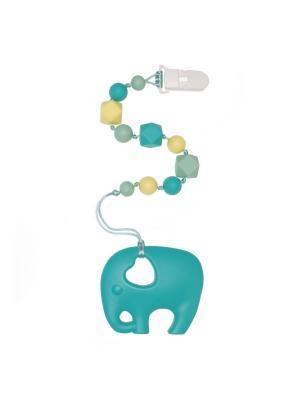 Слоник бирюзовый на клипсе-держателе iSюминка. Цвет: бирюзовый, кремовый, светло-зеленый