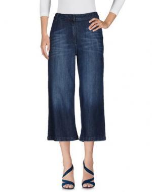 Джинсовые брюки-капри SOUVENIR. Цвет: синий