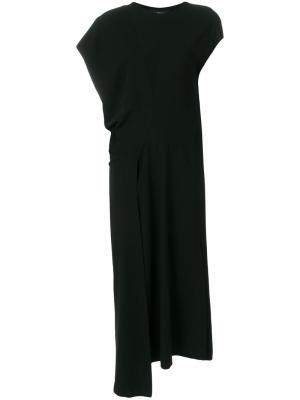 Асимметричное платье с драпировкой Nero Ivan Grundahl. Цвет: чёрный