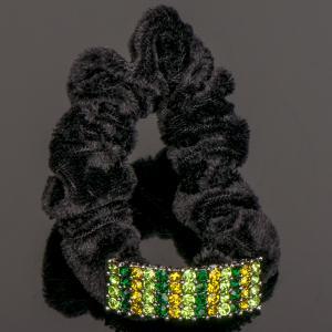 Резинка Фанни страз, арт. 07-822 Бусики-Колечки. Цвет: зеленый