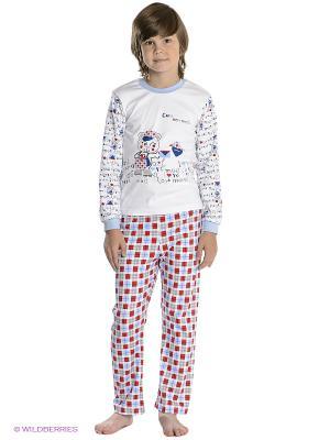 Пижама Лео. Цвет: белый, голубой, красный