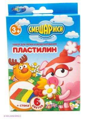 Пластилин Смешарики 6 цветов Centrum. Цвет: синий, белый, желтый, зеленый, красный, черный