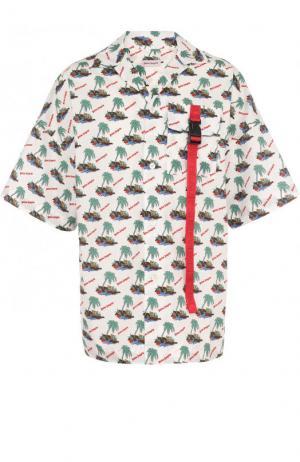 Хлопковая рубашка свободного кроя с принтом Palm Angels. Цвет: разноцветный