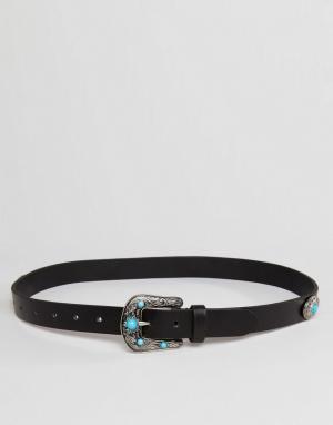 ASOS Кожаный ремень в стиле вестерн с бирюзовым камнем. Цвет: черный