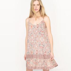 Платье на тонких бретелях с цветочным рисунком SEE U SOON. Цвет: серый/ наб. рисунок