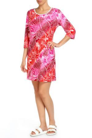 Платье домашнее Лейла LAVELLE. Цвет: ярко-розовый