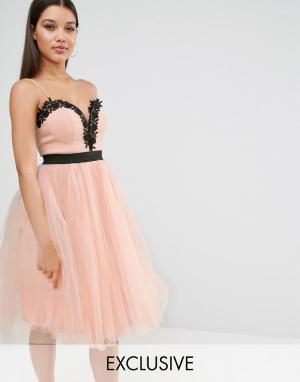 Rare Платье с кружевным лифом и юбкой из тюля London. Цвет: розовый