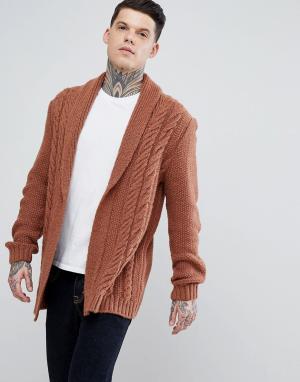 ASOS Светло-коричневый пушистый кардиган с узором косы. Цвет: рыжий