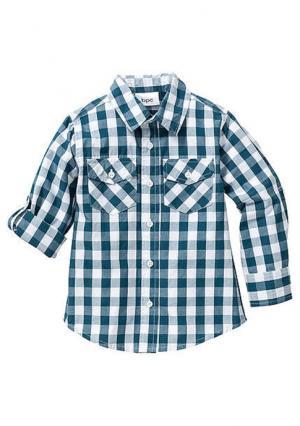 Рубашка. Цвет: сине-зеленый/белый в клетку