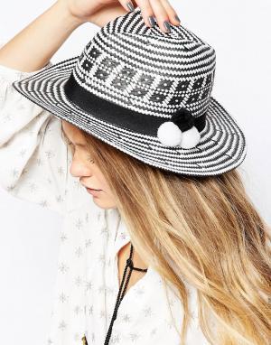 7X Тканая шляпа с помпонами. Цвет: белый