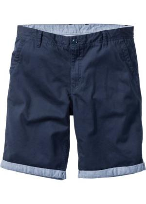 Бермуды-чиносы с отворотами Regular Fit (темно-синий) bonprix. Цвет: темно-синий