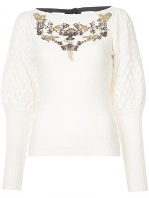 Декорированный свитер Amiin Sachin & Babi. Цвет: белый