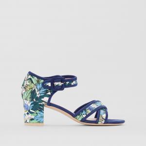Босоножки на среднем каблуке с тропическим принтом MADEMOISELLE R. Цвет: наб. рисунок синий