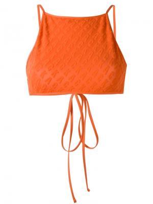 Фактурный верх бикини Ack. Цвет: жёлтый и оранжевый