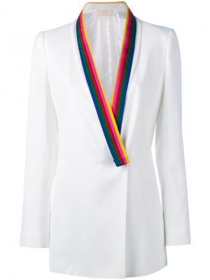 Пиджак с контрастными лацканами Sara Battaglia. Цвет: белый