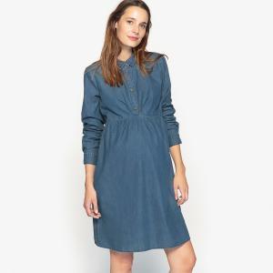 Платье из денима для периода беременности La Redoute Collections. Цвет: синий