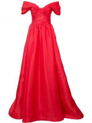 Платье с заниженной линией плеч Marchesa. Цвет: красный