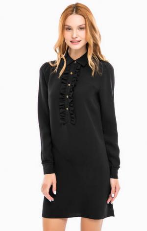 Черное шелковое платье с длинными рукавами MICHAEL Kors. Цвет: черный