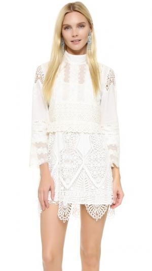 Кружевное платье-туника с вышивкой в викторианском стиле Anna Sui. Цвет: белый