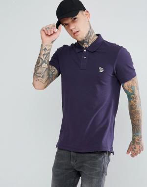PS Paul Smith Фиолетовая облегающая футболка-поло с логотипом. Цвет: фиолетовый