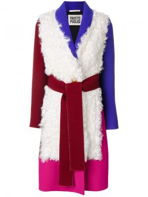 Пальто дизайна колор-блок Fausto Puglisi. Цвет: многоцветный