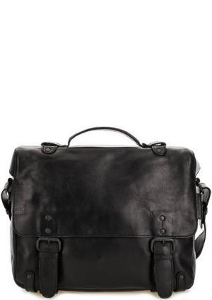 Кожаная сумка с откидным клапаном aunts & uncles. Цвет: черный