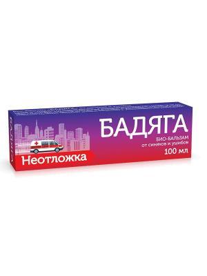 Био-бальзам от синяков и ушибов Бадяга Неотложка (100 мл) ТВИНС Тэк. Цвет: темно-фиолетовый, красный, белый