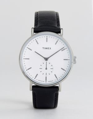 Timex Часы с черным кожаным ремешком Fairfield. Цвет: черный