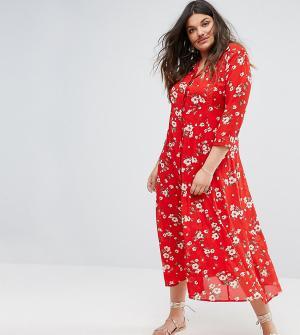 Alice & You Чайное платье макси с цветочным принтом. Цвет: красный