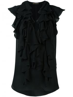 Блузка с рюшами Plein Sud. Цвет: чёрный