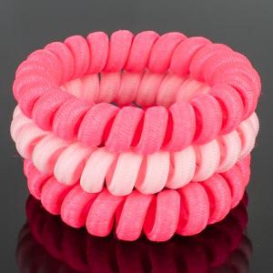 Комплект Резинок-Пружинок для волос 3 шт/уп, арт. РПВ-320 Бусики-Колечки. Цвет: розовый