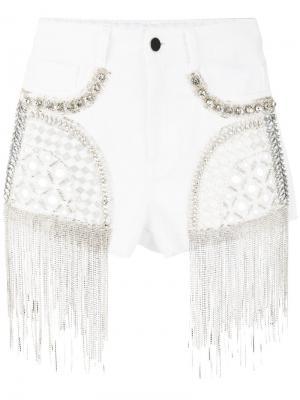 Декорированные джинсовые шорты Amen. Цвет: белый