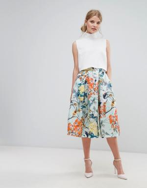 Closet London Атласная юбка миди с принтом. Цвет: мульти