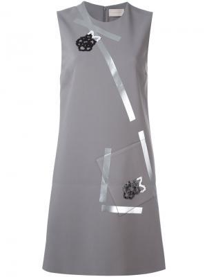 Платье из крепдешина Christopher Kane. Цвет: серый