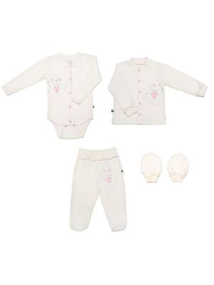 Комплект одежды на выписку для девочки SNO KATT. Цвет: молочный