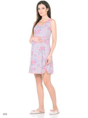 Ночная сорочка для беременных и кормления 40 недель. Цвет: серый, розовый